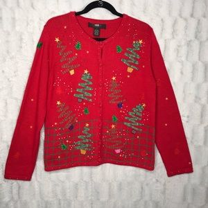 Vintage Red Christmas Tree Knit Sweater Cardigan